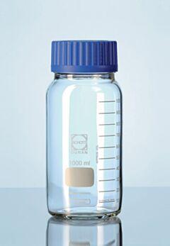 Бутылки широкогорлые для реактивов с полипропиленовой винтовой крышкой. Светлое стекло DURAN, Германия