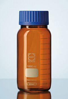 Бутылки широкогорлые для реактивов с полипропиленовой винтовой крышкой. Темное стекло DURAN, Германия